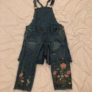 Forever 21 embroidered long jean overalls